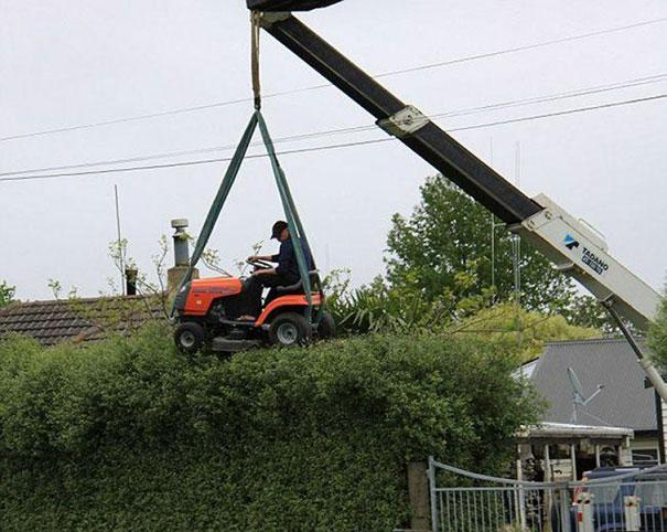 Who needs hedge clippers and a ladder when you have a fancy lawn mower and a crane.