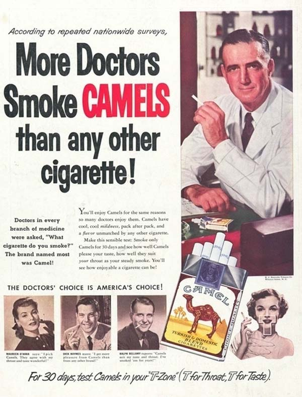 16.) Cigarettes were being promoted as good for your health as early as the 1950s.