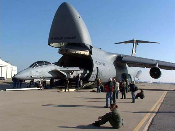 A Galaxy can carry an A-10 Warthog with the wings and tail detached.