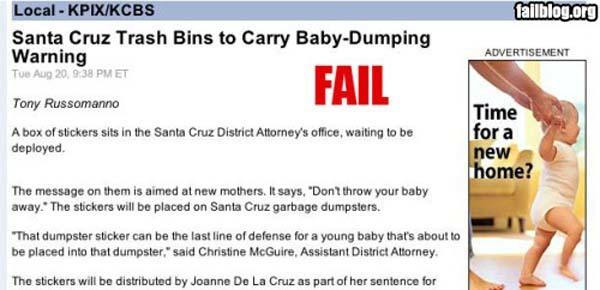7.) Please don't dump your babies. Please and thank you.