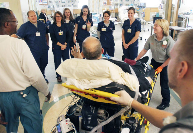 A volunteer medical team helped him get to the First Evangelical Lutheran Church in Strongsville, Ohio.