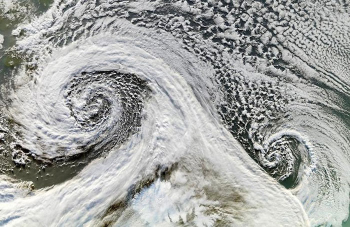 18) Double cyclone photographed from space, 2006 (Iceland)