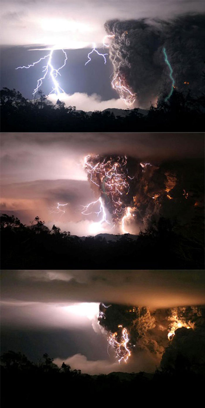 17) Volcano erupts during storms in the middle of the night, 2008 (Chile)
