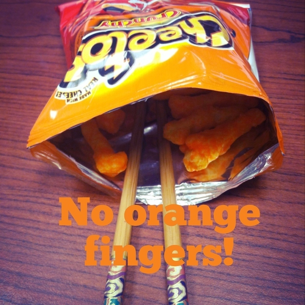3. Using chopsticks gets rid of cheese fingers when eating Doritos or Cheetos