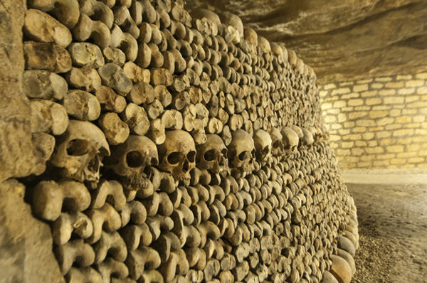2.) The Catacombs (Paris): The Parisian catacombs are a giant ossuary and cemetary that are located beneath that city's streets. There are approximately 6 million bodies put to rest in the catacombs. There is a city of the dead waiting to be explored beneath the city of lights.