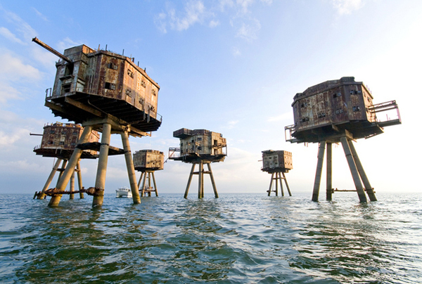 7.) Maunsell Sea Forts (North Sea, England): These were designed to protect England from a potential Nazi invasion during WWII. Today, they stand empty, ghosts guarding the coast (except for the occasional sea bird or vandals).