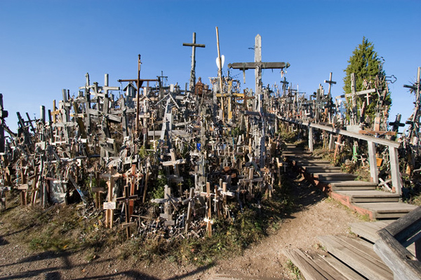 "12.) Kryziu Kalnas ""Hill Of Crosses"" (Lithuania): Kryziu Kalnas was originally a ceremonial site where Lithuanians would mourn the dead lost at war. The Soviet Union bulldozed the area twice, but locals rebuilt it to be even bigger. Today, over 100,000 crosses stand on the hill."