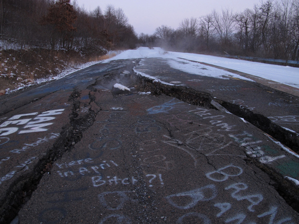 15.) Centralia (Pennsylvania): This was one a busy mining town, until the coal veins under the city caught fire. This dangerous fire has been burning since 1962. The town was bandoned, except for approximately 10 people who still live there. The creepy town was the visual inspiration for the horror movie Silent Hill.