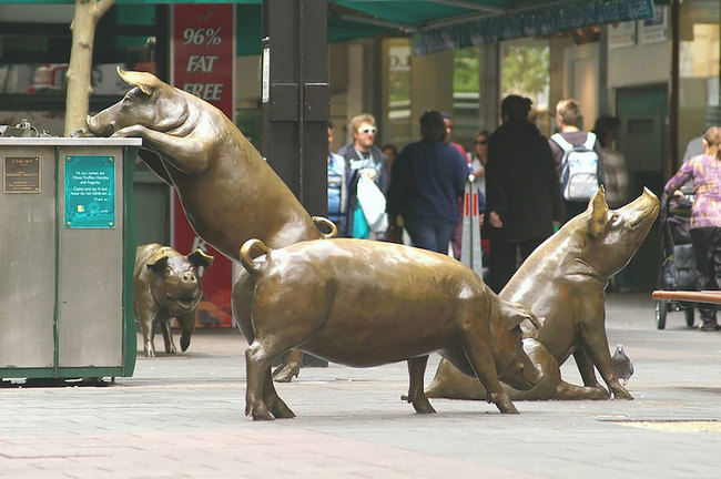 3.) Rundle Mall Pigs (Adelaide, Australia)