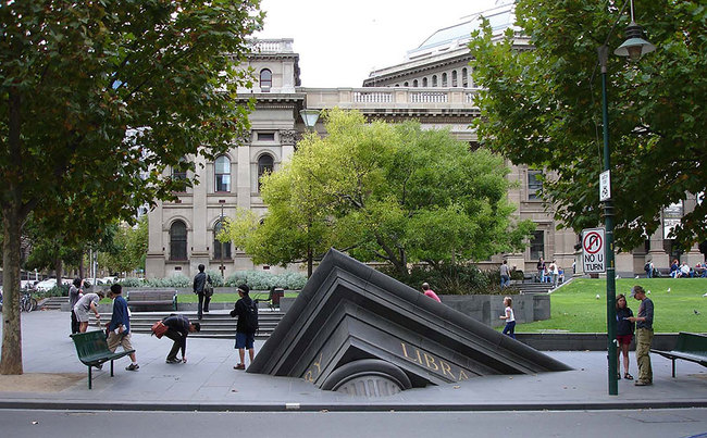 10.) Sinking Building Outside State Library (Melbourne, Australia)