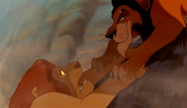 The dramatic scene when Scar holds onto Mufasa before letting him go. Did anyone else cry during this?