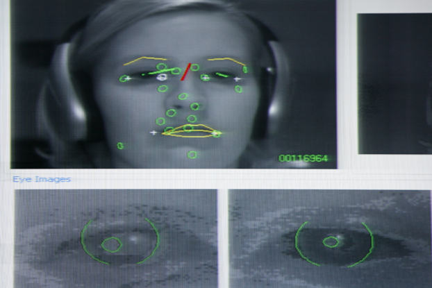 """They invested in a """"gaze tracking system"""" that will allow advertisers to know how long someone is looking at their ad.  This was actually the LEAST creepy picture we could find of the technology."""