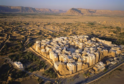 "Shibam looks a lot like a modern city, and is referred to as the ""Manhattan of the Desert."" But don't let its looks fool you. These mud-brick highrises (well, 8 stories) date from the 1500s. It is located at what used to be a pivotal point on the spice and incense caravan route."