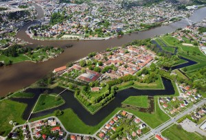 The wall and moat surrounding Fredrikstad was meant to be temporary, a fortification during the Hannibal War of the 1640s to keep out Swedish forces. But they didn't seem to want to waste the effort, so they were left, making the city walled and moated to this day. And check out that cool star pattern the moats make.