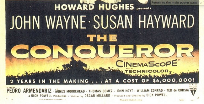 1.) The Conqueror (1956): During the filming of this terrible film staring John Wayne as Genghis Khan, the entire crew was almost killed in a flash flood. Then Susan Hayward was almost eaten by a panther. To top it all off, the film shot for 13 weeks on ground where the Army had previously tested atomic bombs. The cast and crew were all exposed to nuclear fallout and 91 of the 220 crew members contracted cancer. John Wayne and 45 of the crew died a few years afterwards.
