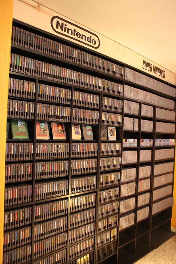 From original Nintendo games to the most recent Wii games, this room is filled to the brim.