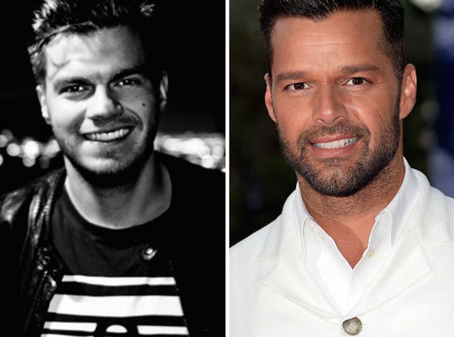 5.) Looks just like: Ricky Martin (runner up: Timothy Olyphant).