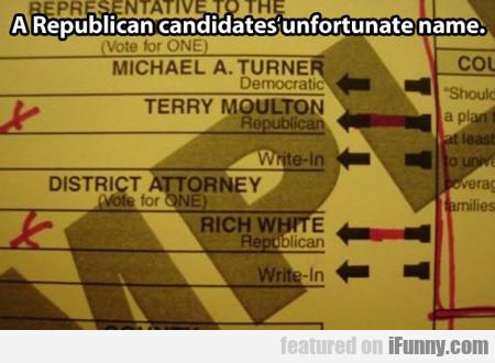 A Republican Candidate's Unfortunate Name...
