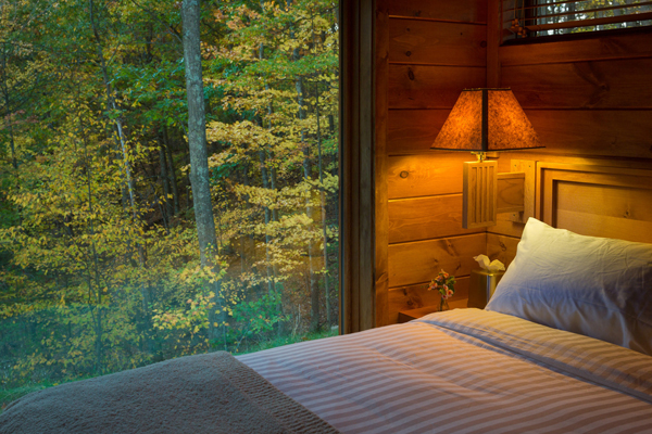 The cabin/RV is settled at Canoe Bay Escape, surrounded by gorgeous views on all sides.