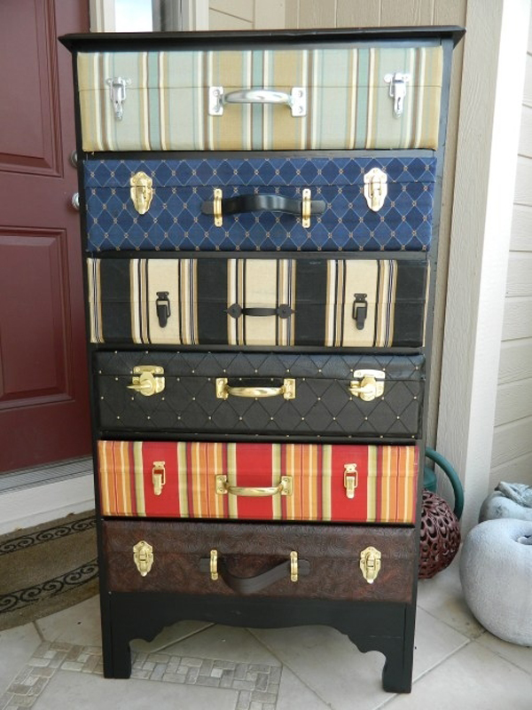 """2.) Transform a chest of drawers into a """"bottomless suitcase."""""""