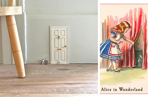 4.) Cover wall outlets with Alice in Wonderland themed doors.