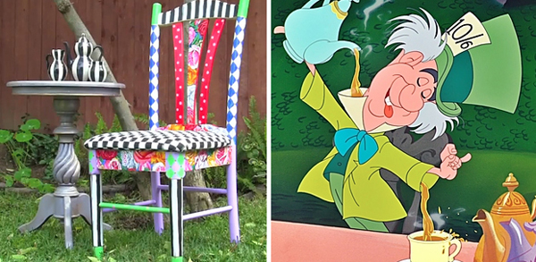 8.) Take an old chair and make it look at home in Wonderland.