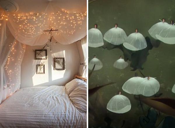 13.) Hang Christmas lights behind curtains to make a magical bedroom.