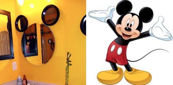 14.) Use three mirrors to make a simple Mickey mirror.