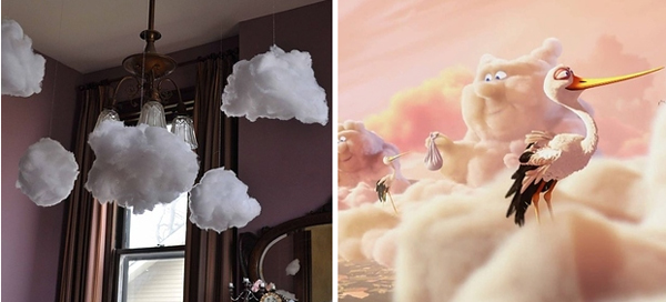 20.) Hang easy-to-make fluffy clouds.