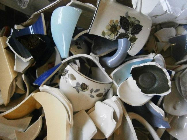 Eluned first starts by finding interesting broken pieces from ceramics that will fit together nicely.
