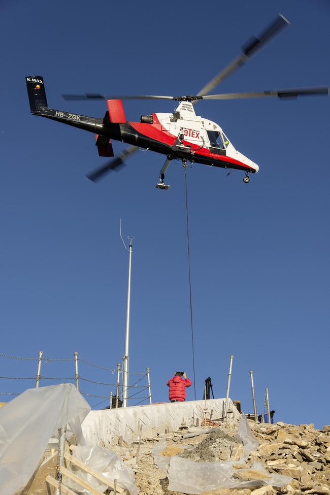 You know you're up high when the only way you can get materials is via helicopter.