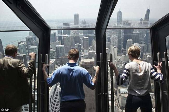 Here visitors can get a real, heart stopping, look at Chicago below.