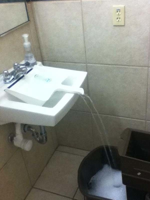 1.) Use a dustpan to help fill a mop bucket.