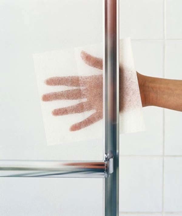 4.) Dryer sheets can help remove buildup on glass doors.