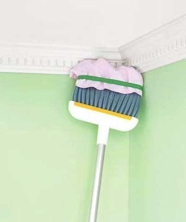 9.) Putting a towel on the end of a broom can help you clean high, hard to reach places.