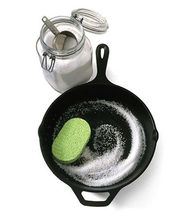 8.) Coarse salt can help you clean cast iron.