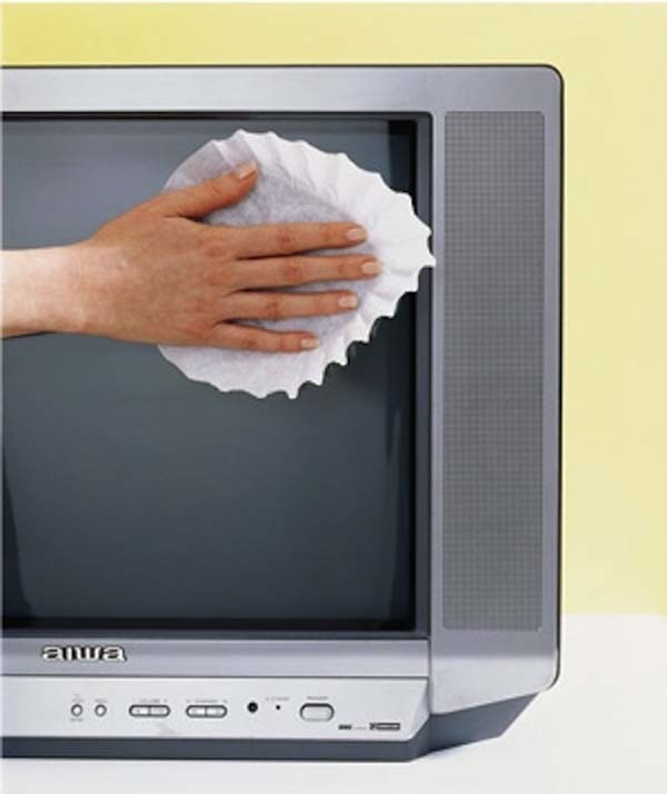 10.) Coffee filters can be used to help clean oven screens.