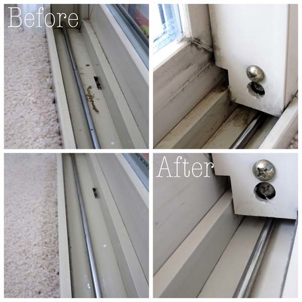 12.) The tracks on your doors or windows can be cleaned with vinegar.