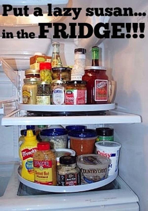 13.) Your fridge will thank you for the Lazy Susan.