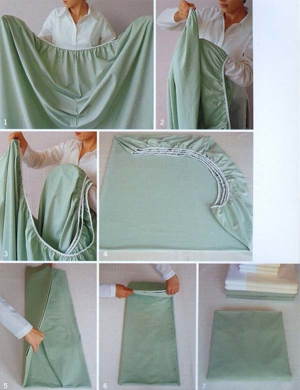 16.) This is how you fold a fitted sheet.