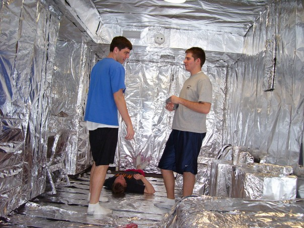 And the second half finished. They did the walls, the ceiling, everything. It took 3 days and 2400 sq. ft. of tin foil.
