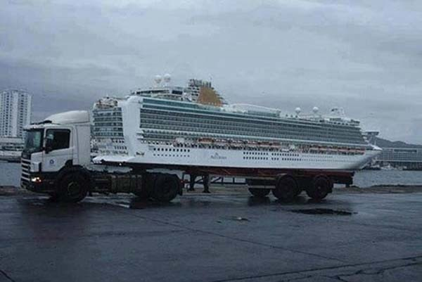 24.) Sadly, this ship isn't being transported by a giant semi.
