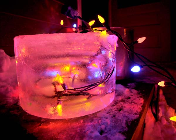 Complete with homemade party lights (LED strings frozen in ice).