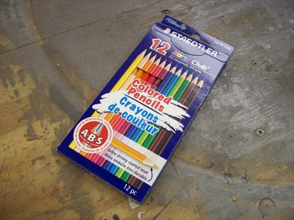 He bought a pack of colored pencils.